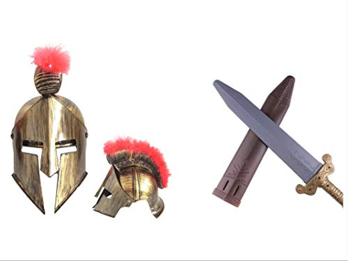 thematys Sparta Set Helm und Schwert für Erwachsene - perfekt für Fasching & Karneval - Einheitsgröße (Männliche Krieger Kostüm)