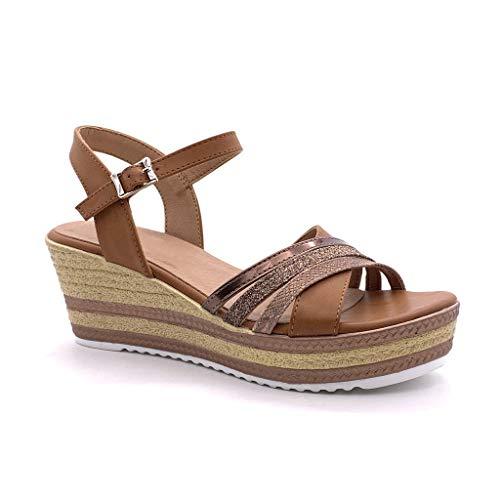 Angkorly - Damen Schuhe Sandalen Espadrilles - Plateauschuhe - Offen - gekreuzte Riemen - Multi-Zaum - Geflochten Keilabsatz high Heel 7 cm - Camel F3075 T 38