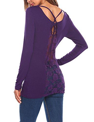 Trudge Damen Rückenfrei Langarmshirt Frauen Plaid Langarm Oberteil Tops T-Shirt Runder Kragen (EU 38(Herstellergröße: M), Lila)