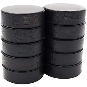 Gufex 10 Stück Herren Eishockey Puck Offizieller Iihf Spielpuck Farbe Schwarz