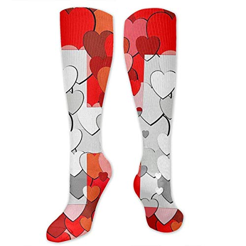 Nifdhkw Witzerland Flag Made Hearts Knee High Compression Stockings Athletic Socks Personalized Gift -