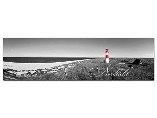 GRAZDesign Wandbild Leuchtturm in Sylt Küste Nordsee maritim, Schwarz Weiß, Acrylglasbild Bilder Aus Acryl Fotografie Fotodruck, Dekoration Wohnung modern / 180x50cm