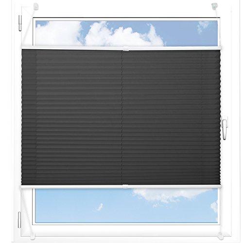 Plissee Rollo / Jalousie | Sichtschutz ohne Bohren, Klemmfix | Faltstore in moderner Crushed Optik | Schwarz | Größe wählbar (100 cm Länge x 90 cm Breite)
