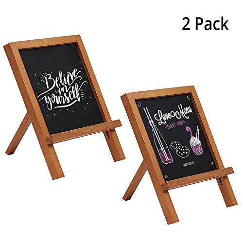 Mini Kreidetafel Aufsteller (2 Pack) - 25 x 18cm Holz Tafel Set Tischkarten Schiefertafel gerahmt mit Standfüßen für Geburtstag Buffet Party Deko Hochzeit Tischdeko Restaurant Mini Deko