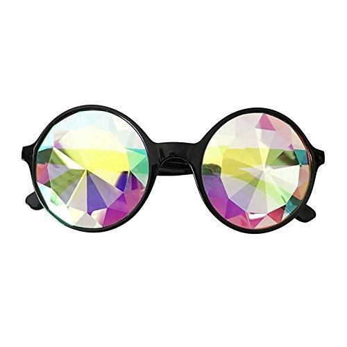 Skang Damen Kaleidoskop Runden Sonnenbrille Vintage Street Style Brillen Urlaubs Party Sunglasses Eyewear(Einheitsgröße,Schwarz)