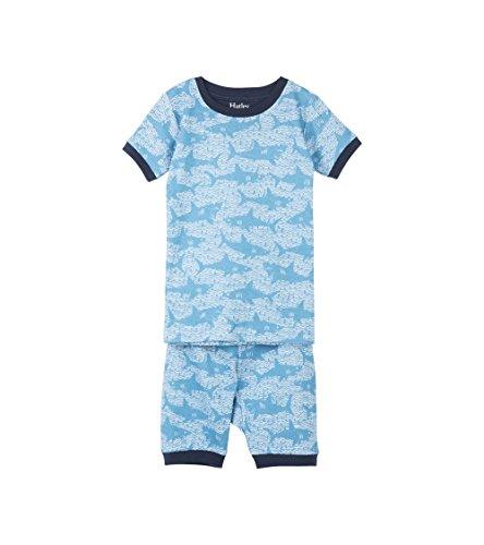 Hatley Jungen Zweiteiliger Schlafanzug Organic Cotton Short Sleeve Printed Pyjama Set, Blau (Shark Alley 400), 2 Jahre (Pyjama 2 Blau Baumwolle Set)