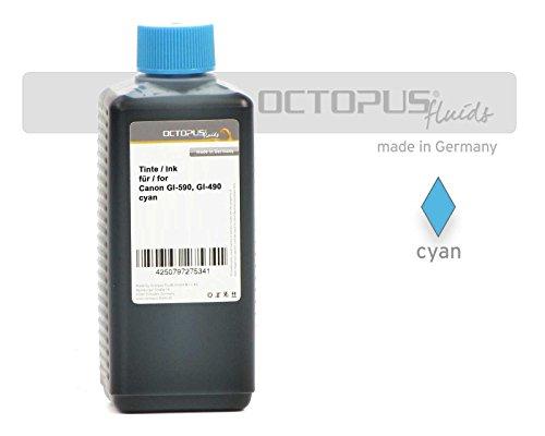 Preisvergleich Produktbild 100ml Octopus® Druckertinte, Nachfülltinte für Canon GI-590, GI-490 C, Canon Pixma G1500, G2500, G3500, G4500, G1400, G2400, G3400, Farbe Cyan (kein OEM)