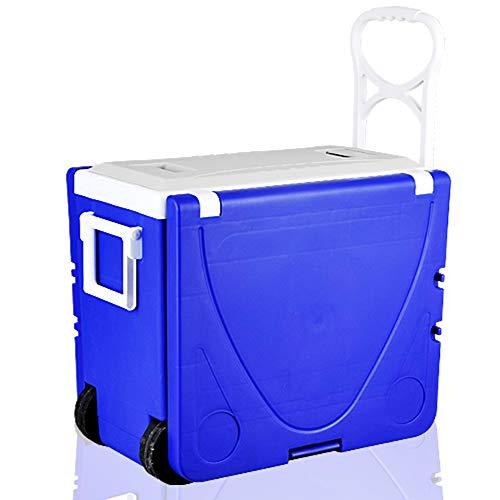 YTBLF Inkubator 28L, Tiefkühlschrank, Multifunktions-Picknicktisch, tragbarer Aufbewahrungs- und Getränkefalttisch mit Zwei Stühlen,Blue