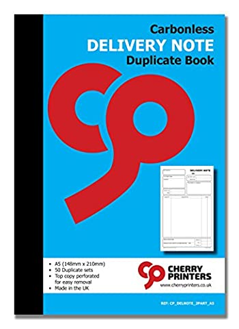 Cherry Carbonless NCR Delivery Note Duplicate Book A5 50 sets - Autocopiante Fattura Libro