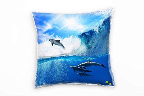 Paul Sinus Art Tiere, Blau, Delfine, Meer, Wellen Deko Kissen 40x40cm für Couch Sofa Lounge Zierkissen - Dekoration Zum Wohlfühlen Hergestellt in Deutschland (Welle Couch)