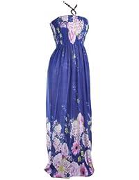 Long Maxi Halterneck Floral Pattern Print Bead Summer Halterneck Casual Day Dress