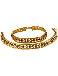 VAMA FASHIONS Pair Of Gold Plated Payal /Pajeb / Anklet With CZ / Polki And Semi Precious Stones ONLINE SHOPPING...