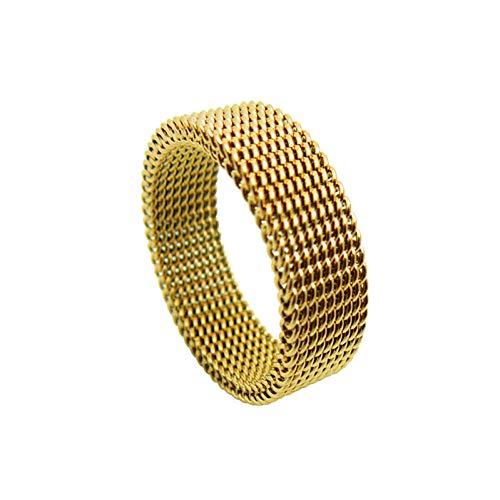 JIEZHI Breite 8Mm Schmuck Soft Mesh Titan Stahl Ring Variabilität Gold Titan Stahl Ringe Edlen Schmuck Ringe Für Frauen Hochzeit Ringe
