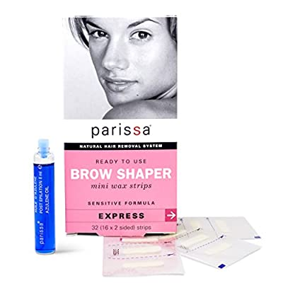 Eyebrow Wax Strips (32 Strips), Parissa Hair Removal Waxing Strips for Eyebrows with After Care Azulene Oil by Famous Brands - Lab65 Limited