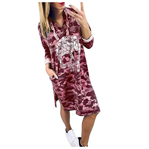 SANNYSIS Damen Lang Kapuzenpullover Hood Pulloverkleid Camouflage Oversize Hoodie Sweatshirt Longpullover für Sport Fitness Freizeit Kapuzenpullis Pullover Pulli Kleider (XXL, Wein)
