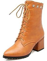 Easemax Damen Modisch Quadratisch Zehe Metall Nieten Kurzschaft Stiefel Mit Absatz Braun 43 EU mlptCIzbI