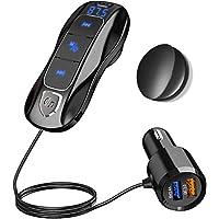 SONRU Más NuevoTransmisor FM Bluetooth 5.0, Manos Libres y Adaptador de Radio para Vehículos, Reproductor MP3 Coche, QC3.0 + 5V/2.4A USB Puertos con Cable de 1.1M, Pantalla de Voltaje