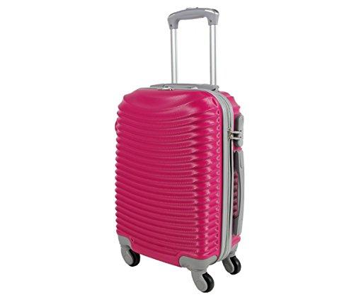 Trolley da cabina valigia rigida 4 ruote in abs policarbonato antigraffio e impermeabile compatibile voli lowcost come Easyjet Rayanair art 2030 / piccolo fuxia