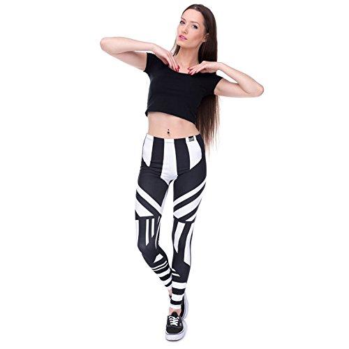 zumprema Damen Zebra Leggings schwarz