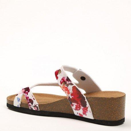 Ideal Shoes - Nu-pieds style orthopédique imprimé Fanelia Blanc