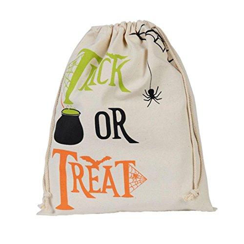Sacchetto di Halloween, Longra Sacchetto del drawstring del sacchetto di stivaggio di Halloween della tela di canapa D