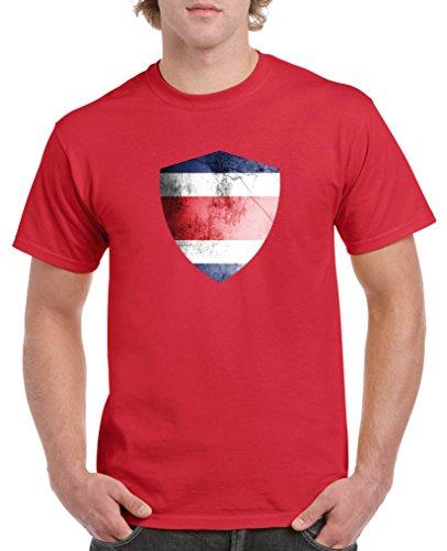 Costa Rica Kleid (Comedy Shirts - Costa Rica Trikot - Wappen: Groß - Wunsch - Herren T-Shirt - Rot / Weiss Gr. L)