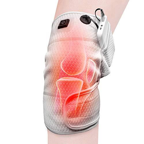 Preisvergleich Produktbild HIIMIEI Mehrweg Knieheizkissen Wrap Beheizte Knieorthese,  Therapeutische elektrische Heizkissen mit wiederaufladbarem 3, 7 V 4000Mah-Akku für Gelenkschmerzen(3 Temperatureinstellu