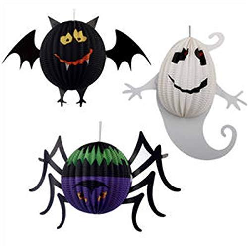 Tianzhiyi Weihnachtsdekoration Papierlaternen, Spinnenfledermaus Geist, Der Hängende Halloween Dekorations Laternen für Halloween Partei, Stab Dekoration 3PCS Hängt (Size : L)