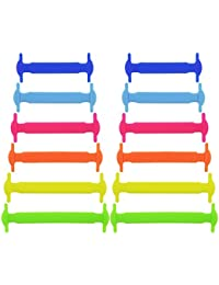 Soumit® Multifunción No Moda y Resistente al Agua Limpia Atar Cordones de Silicona Elástica Plana de Instructores para Adulto Niños Mujeres Hombres (Mezcla Colores) 12 Piezas