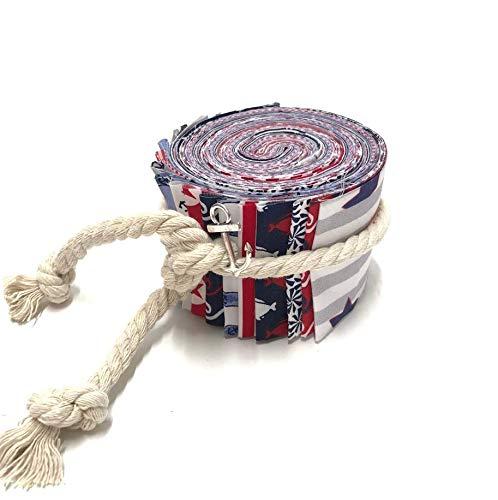 Jelly Roll Anker Liebe - die Jelly Roll beinhaltet 20 Streifen à 2,5 Inch (=6,5cm) Breite und 135 cm Länge 100% Baumwolle 75 cm Kordel 1 Ankeranhänger