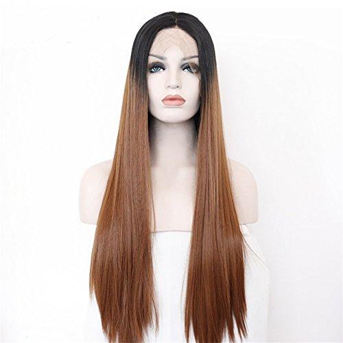 DAYYN Frau Europa und Amerika Spitze lange glatte Haare Perücke Perücken schwarz braun 26 '' -