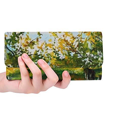 Einzigartige Benutzerdefinierte Herbst Wald Landschaft Birken Fluss Öl Frauen Trifold Brieftasche Lange Geldbörse Kreditkarteninhaber Fall Handtasche -