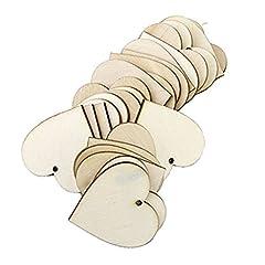Idea Regalo - WINOMO Cuore Legno Fette Dischi in Bianco per Bricolage Matrimonio Decorazioni 40mm 25pcs