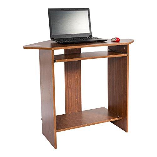 Image of Mari Home - Clifton Walnut Home Office Computer Corner Desk Workstation with Keyboard Shelf