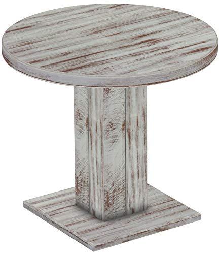 Brasilmöbel Säulentisch Rio UNO Rund 90 cm Shabby Nussbaum Tisch Esstisch Pinie Massivholz Esszimmertisch Holz Küchentisch Echtholz Größe und Farbe wählbar