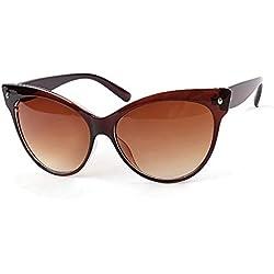 Aulei Sonnenbrillen Unisex Mode Katzenaugen Sunglass Damen Herren Klassisch Retro Vintage-Stil Braun
