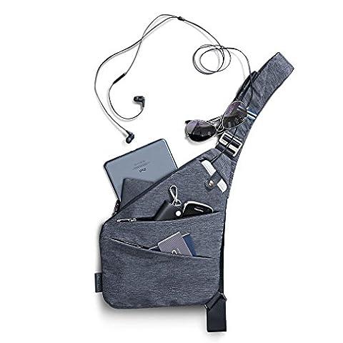 NIID-FINO Sling Schulter Crossbody Brust Tasche Slim Rucksack Multipurpose Daypack für College Herren Frauen Radfahren Walking Wandern Trip Passt bis zu 7,9 Zoll iPad Mini (RECHTS, Grau)