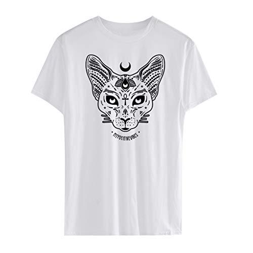 OIKAY Punk Gothic Top Bluse Frauen und Männer Casual Kurzarm Moon Cat Print Punk Gothic Top Bluse T-Shirt