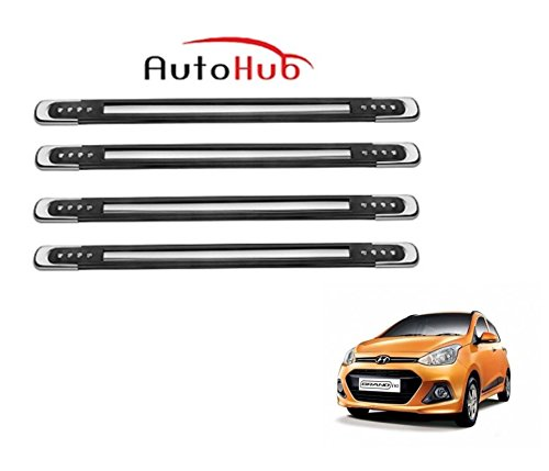 Auto Hub Rubber With Chrome Finish Car Bumper Guard Protector For Hyundai Grand i10 - Black  available at amazon for Rs.449