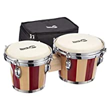 """RockJam RJ-100301 7"""" and 8"""" Bongo Set with Padded Bag and Tuning Wrench Red and Natural Stripe"""
