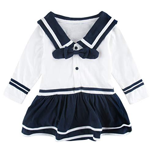 Mombebe Baby Mädchen Matrose Body Langarm Kleider (Weiß Lang, 12-18 Monate)