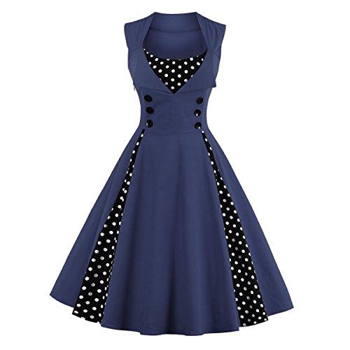 Dissa M1357 Damen 50er Retro Cocktail Vintage Rockabilly Kleid Blau