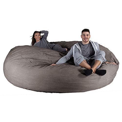 Lounge pug®, pouf sacco gigante xxxxxl, c2000l cloudsac, pieno de fiocchi di lattice e poliestere, corda classica - grafite