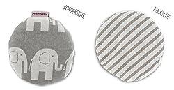 HOBEA-Germany Kirschkernkissen Wärmekissen Körnerkissen für Babys rund in verschiedenen Designs, Modell:Elefanten/gestreift