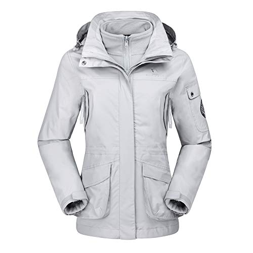CAMEL CROWN Damen Ski 3-in-1-Jacke 2 Stück Outdoor Wasserdicht Winddicht Fleece Innen Kapuzenmantel