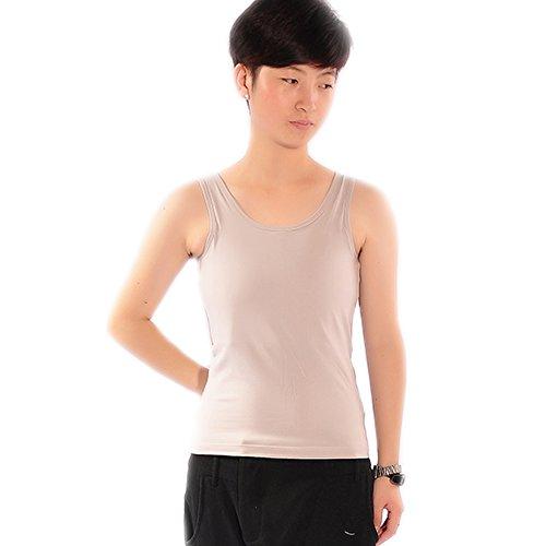 BaronHong Elastische Brust Binder Korsett Baumwolle Lange Tank Top für Tomboy Trans Lesben (Grau, S)
