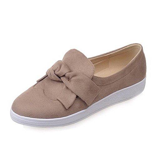 AllhqFashion Damen Ziehen Auf Niedriger Absatz Mattglasbirne Rund Zehe Pumps Schuhe Aprikosen Farbe
