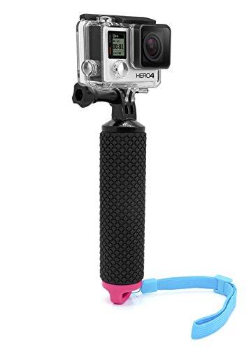 MyGadget Schwimmender Action Kamera Handler Stick - Rutschfester Handgriff Monopod Wasser Zubehör für z.B. GoPro Hero 6 5 4 3+ 3, Xiaomi Yi 4K - Pink