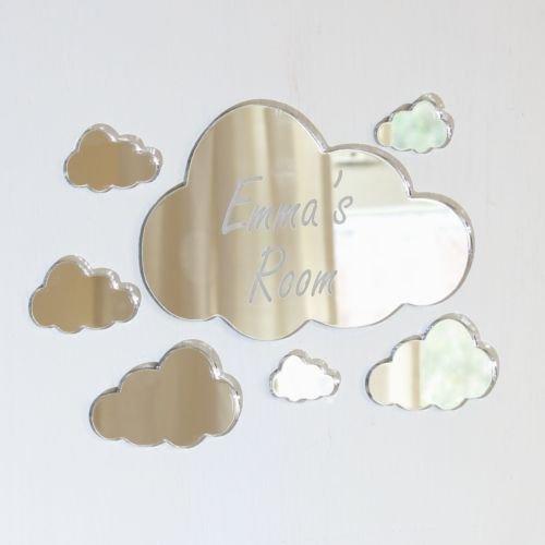 laserables Wolken Spiegel Set personalisiert Tür Namen Plaque Boy Mädchen Bed Room Schild -