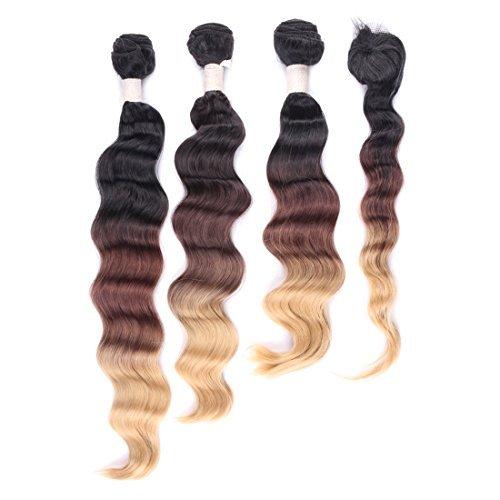 # 1B/6/27 (Noir naturel à Blond Caramel) Ombre Extensions de cheveux trame 35,6 cm 40,6 cm 45,7 cm et Top Fermeture cheveux 35,6 cm Courroie Wave 3-Tone couleur 210 g/3 trames/Lot